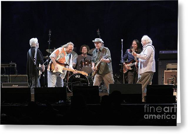 Crosby Stills Nash And Young Greeting Card by Concert Photos