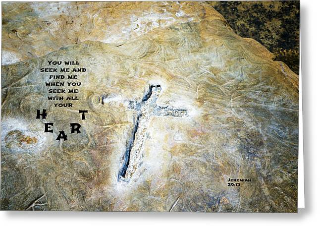 Cross And Heart Greeting Card by Joseph S Giacalone
