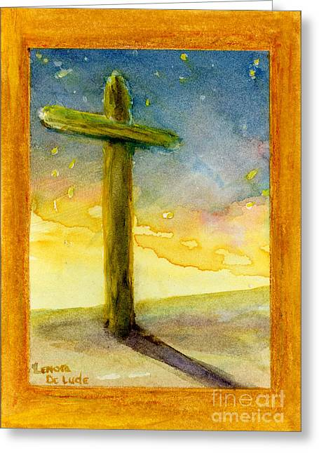 Cross At Dawn In Blue And Gold Sunrise Greeting Card