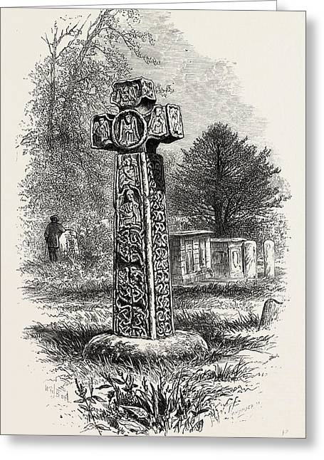 Cross At Eyam, Derbyshire, England, Uk, Britain Greeting Card by English School