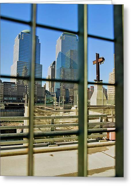 Cross At World Trade Towers Memorial Greeting Card