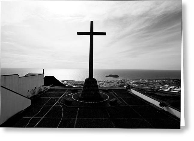 Cross Atop Old Chapel In Village  Greeting Card