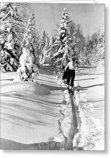 Cross Country Skiing In Canada Greeting Card by Underwood Archives