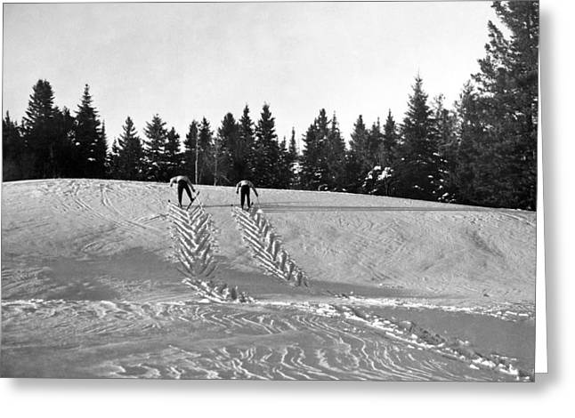Cross Country Skiing In Quebec Greeting Card by Underwood Archives