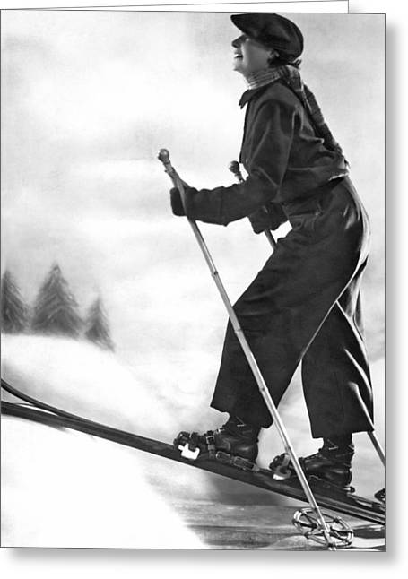 Cross Country Skiing Greeting Card by Underwood Archives