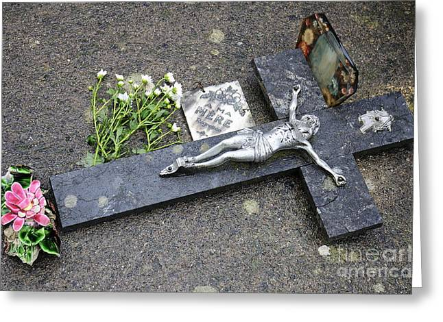 Cross Decorating A Tomb In Graveyard Greeting Card by Sami Sarkis