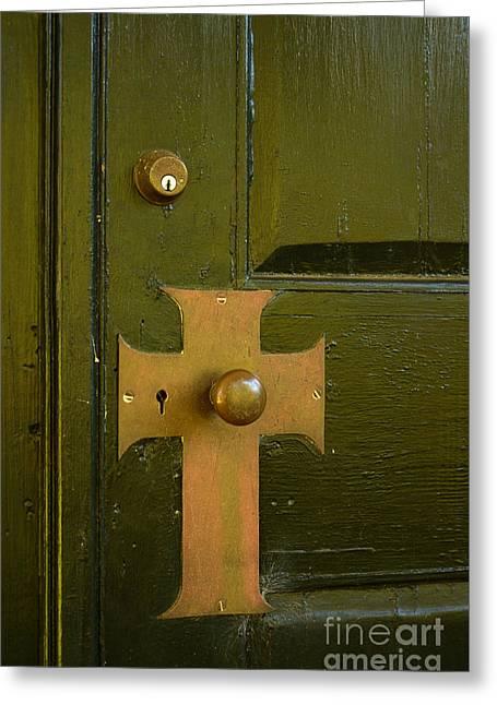 Cross Door Plate Greeting Card by Bob Sample