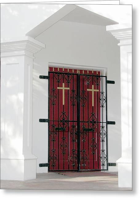 Key West Church Doors Greeting Card by Bob Slitzan