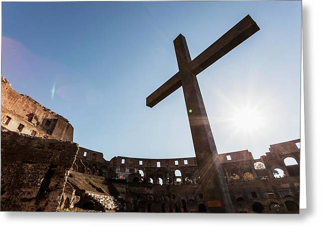Cross In The Colosseum  Rome, Italy Greeting Card by Reynold Mainse