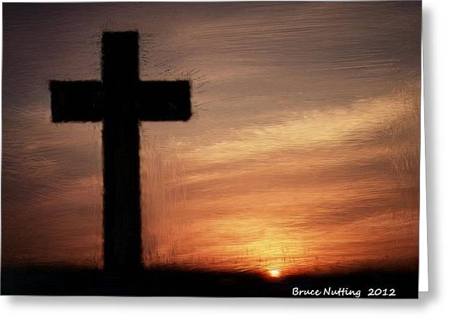 Cross In The Sunset Greeting Card by Bruce Nutting