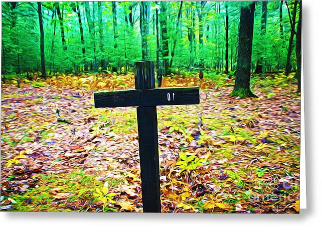 Cross In Woods Greeting Card by Laura D Young