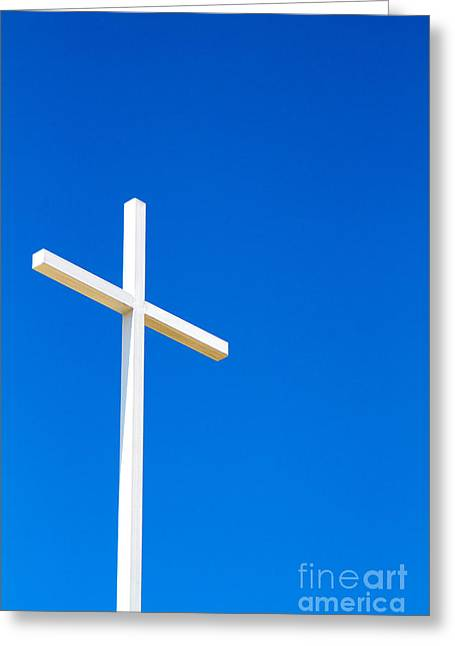 Cross On Blue Sky Greeting Card