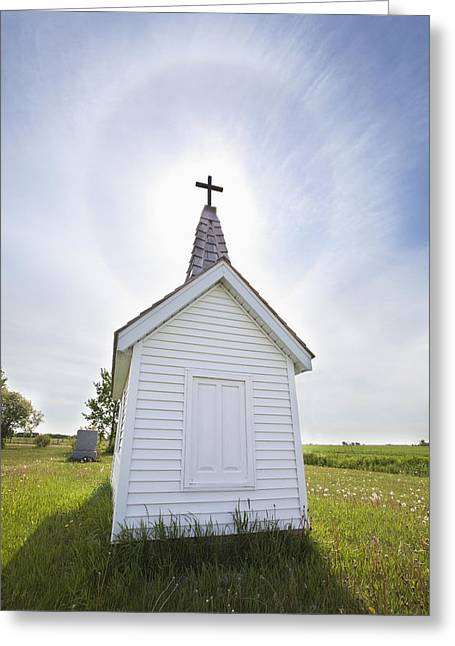 Cross On Crypt With Sun Halo Near Greeting Card by Susan Dykstra