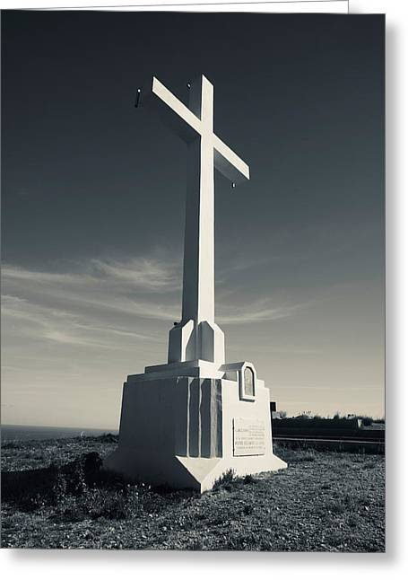 Cross On Mont St-clair, Sete, Herault Greeting Card by Panoramic Images