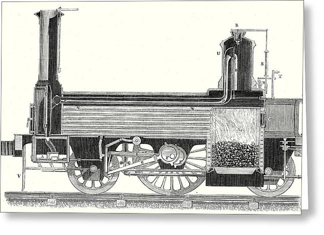 Cross Section Of A Locomotive Showing How The Steam Greeting Card