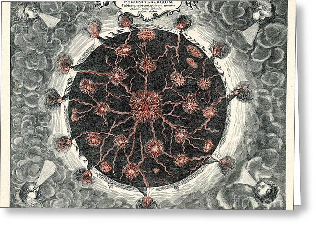 Cross-section Of The Globe Greeting Card by Mary Evans