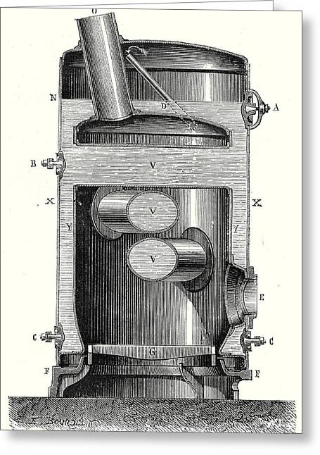 Cross Section Of The Hearth And The Crossed Boiler Reboiler Greeting Card