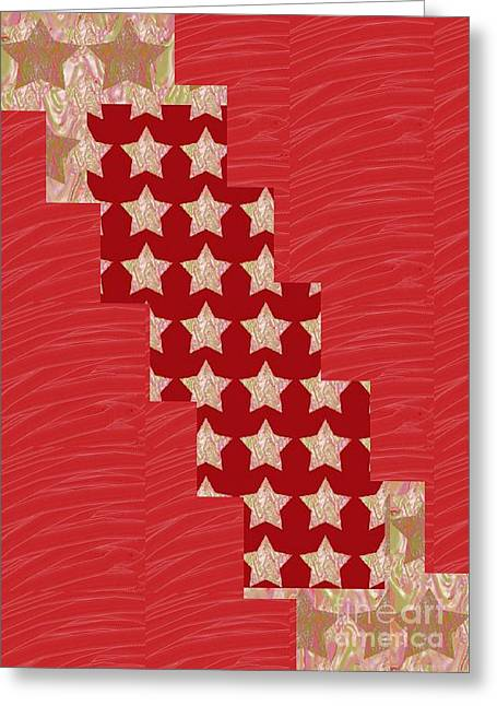 Cross Through Sparkle Stars On Red Silken Base Greeting Card by Navin Joshi