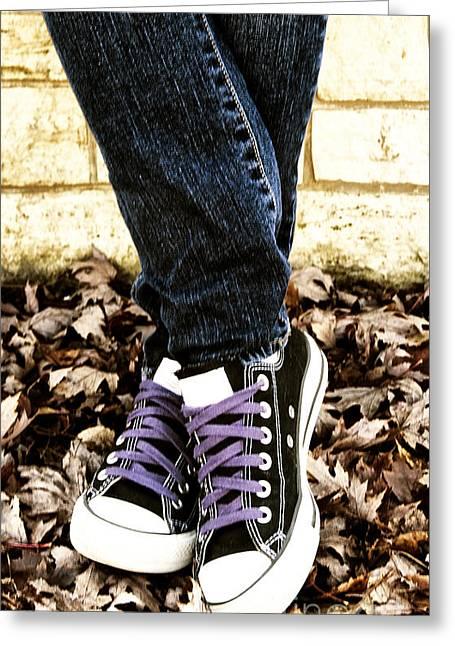 Crossed Feet Of Teen Girl Greeting Card by Birgit Tyrrell