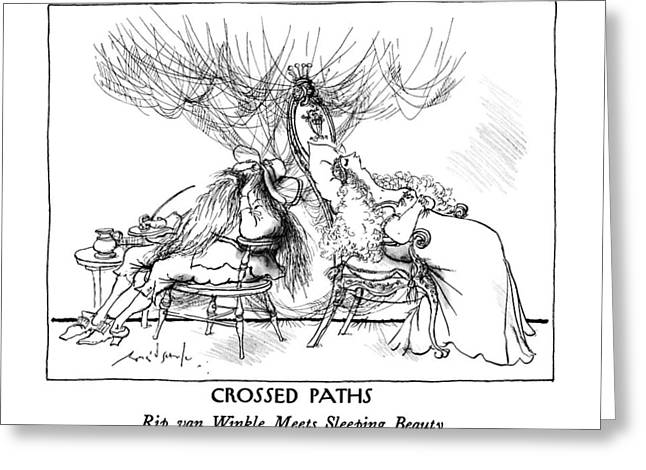 Crossed Paths: Rip Van Winkle Meets Sleeping Greeting Card by Ronald Searle