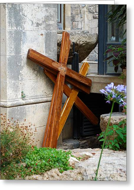 Crosses At Church Of The Flagellation Greeting Card by Eva Kaufman