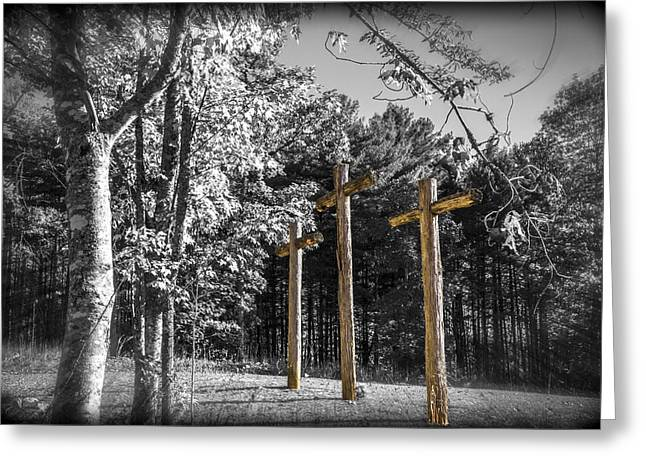 Crosses Greeting Card by Debra and Dave Vanderlaan