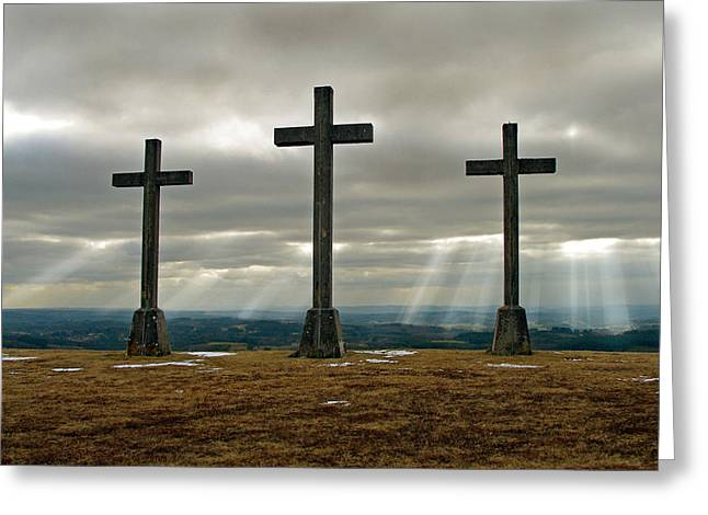 Greeting Card featuring the photograph Crosses by Rod Jones
