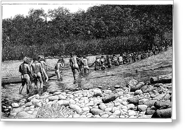 Crossing A River In Vietnam Greeting Card