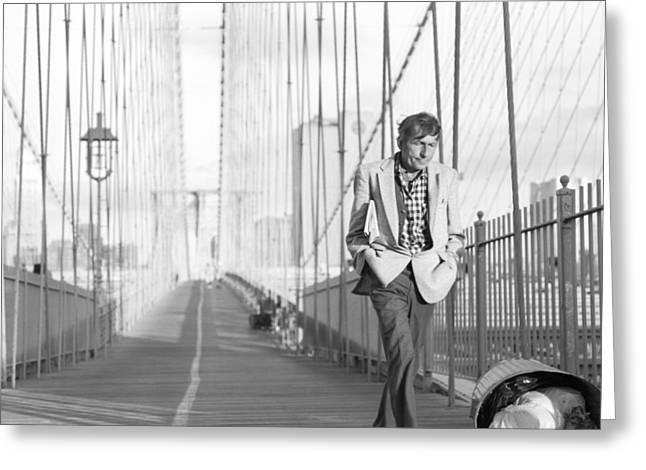 Greeting Card featuring the photograph Crossing Brooklyn Bridge by Dave Beckerman