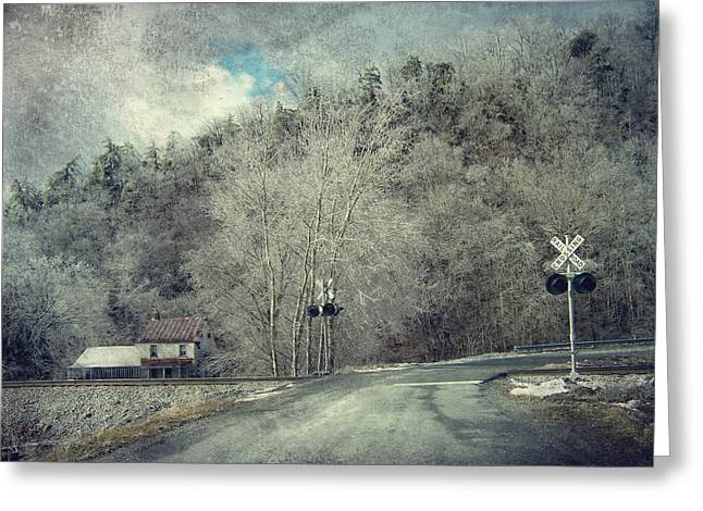 Crossing Into Winter Greeting Card by Kathy Jennings