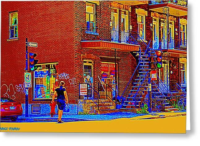 Crossing Laurier Depanneur Maboule Tabagie Biere Et Vin Montreal Street Scene Art By Carole Spandau Greeting Card by Carole Spandau