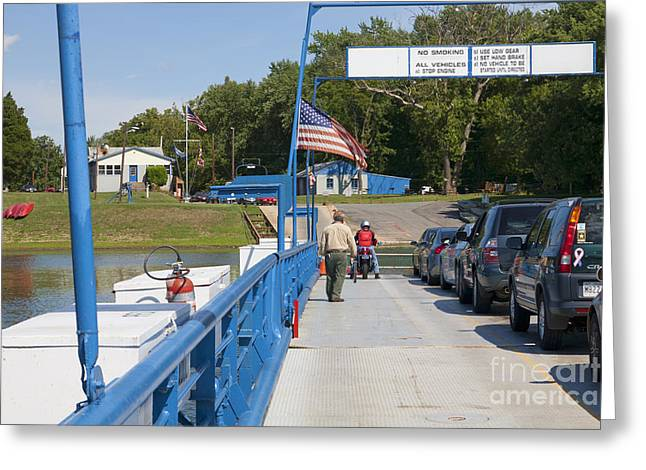 Crossing The Potomac On White's Ferry From Virginia To Maryland Greeting Card by William Kuta
