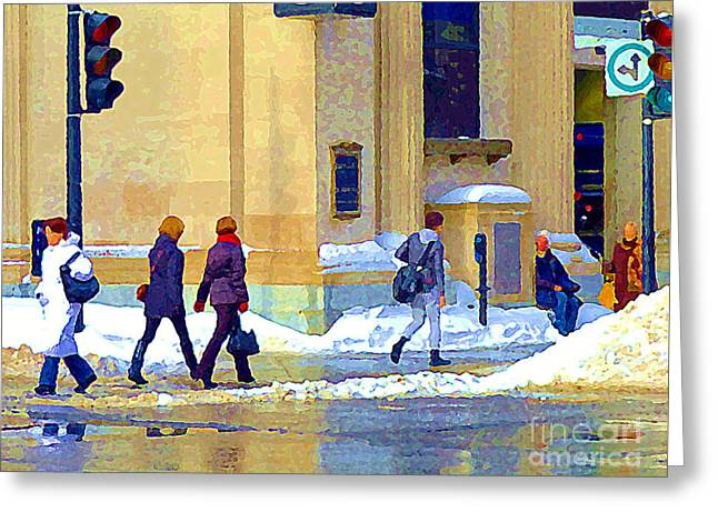 Crossing St Catherine At Drummond Downtown Montreal Centre Ville Urban Winter Street Scene Cspandau  Greeting Card