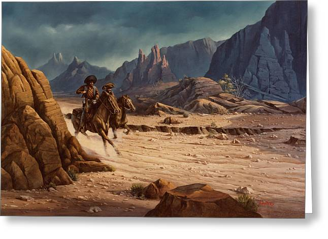 Greeting Card featuring the painting Crossing The Border by Michael Humphries