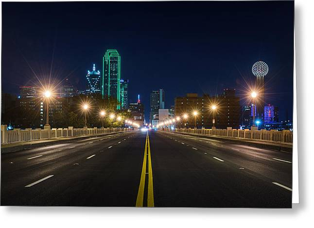 Crossing The Bridge To Downtown Dallas At Night Greeting Card