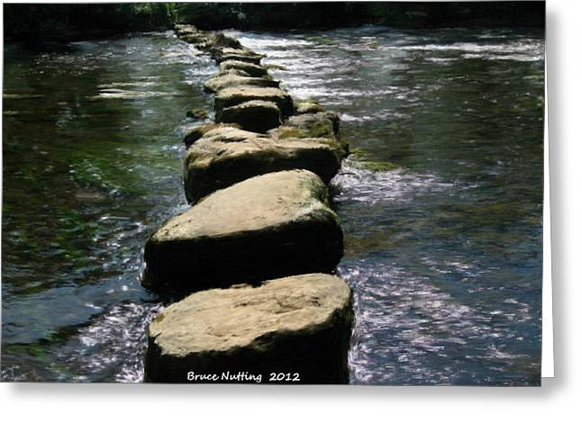 Greeting Card featuring the painting Crossing The Creek by Bruce Nutting