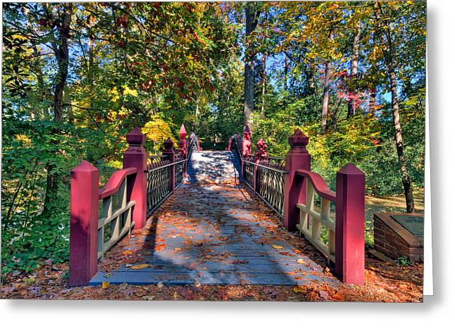 Crossing The Crim Dell Bridge Greeting Card by Jerry Gammon