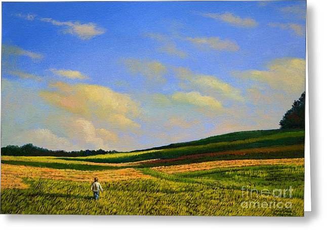 Crossing The Field Greeting Card