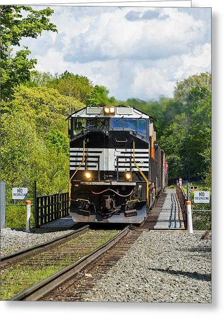 Crossing The Railroad Trestle Greeting Card