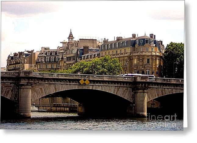 Crossing The Seine Greeting Card by Lauren Leigh Hunter Fine Art Photography