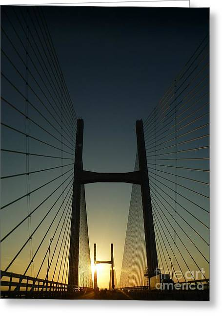 Crossing The Severn Bridge At Sunset - Cardiff - Wales Greeting Card by Vicki Spindler