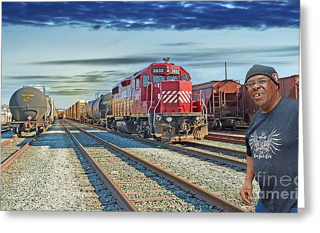 Crossing The Train Track  Greeting Card by Jim Fitzpatrick
