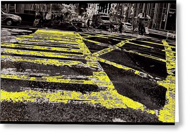 Crosswalks In New York City Greeting Card by Dan Sproul
