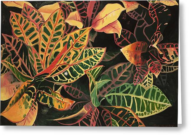 Croton Leaves Greeting Card by Judy Swerlick