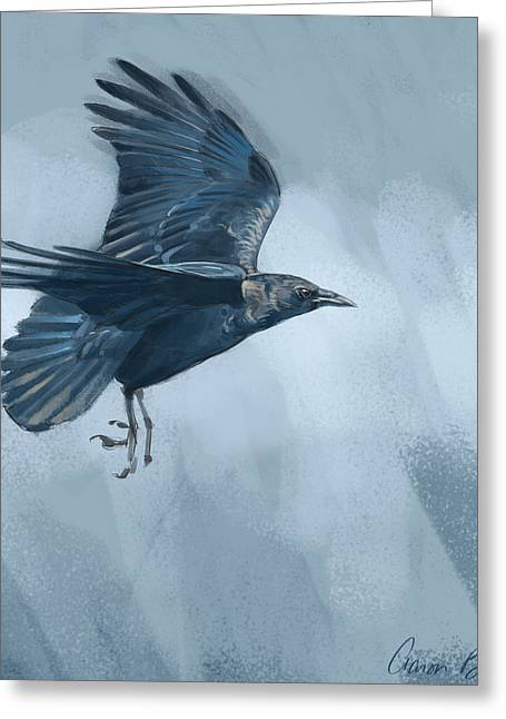 Greeting Card featuring the digital art Crow by Aaron Blaise