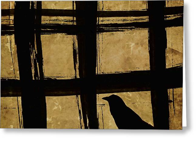 Crow And Golden Light Number 2 Greeting Card by Carol Leigh