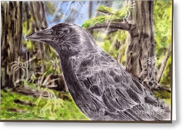 Crow And Kokopeli Greeting Card by Keiko Olds