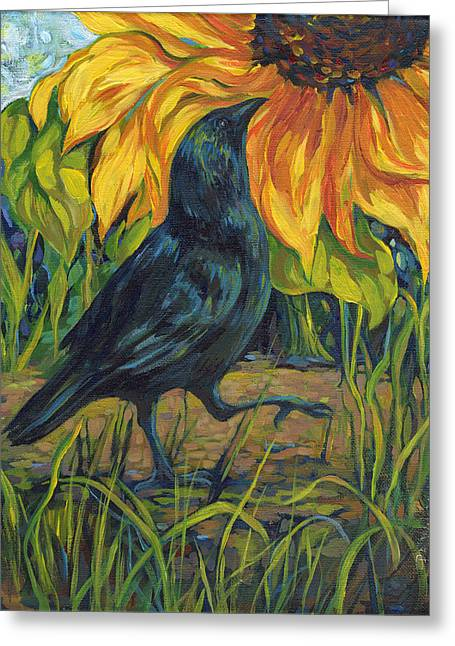 Crow And Sunflower II Greeting Card by Peggy Wilson