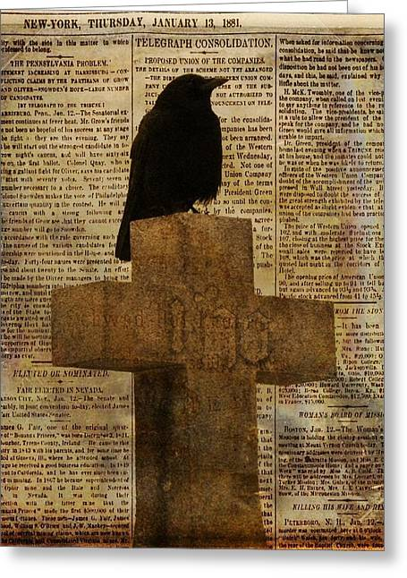 Crow Collage Greeting Card