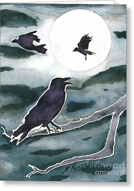 Crow Moon Greeting Card by D Renee Wilson